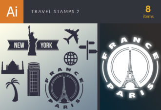 Travel Vector Stamps Vector Set 2 Vector packs palm tree