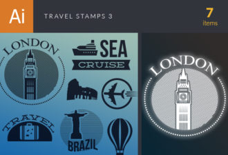 Travel Vector Stamps Vector Set 3 Vector packs flat