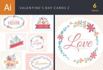 Valentine's Day Cards Set Vector Set 2 Vector packs LOVE