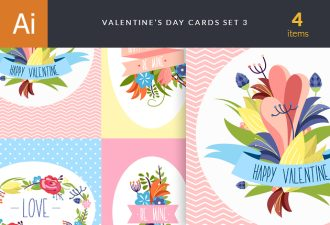 Valentine's Day Cards Vector Set 3 Vector packs LOVE