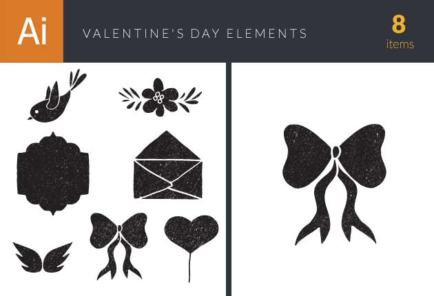 Valentine's Day Elements Set 1 Vector packs flower