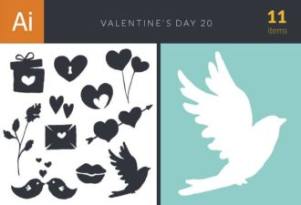 Valentine's Day Set 20 Vector packs lips