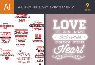 Valentine's Day Typographic Elements Vector packs LOVE