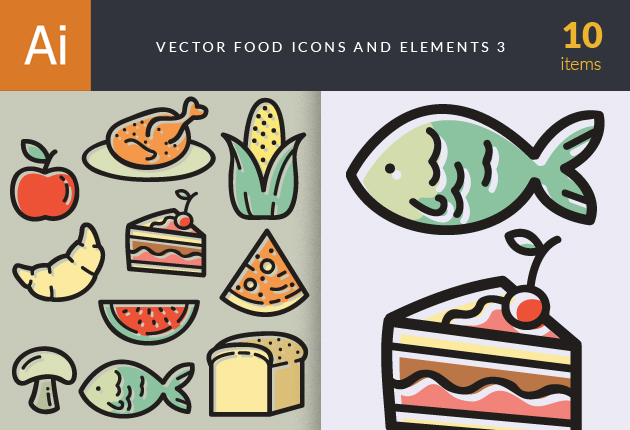 Vector Food Icons And Elements 3 Vector packs plant