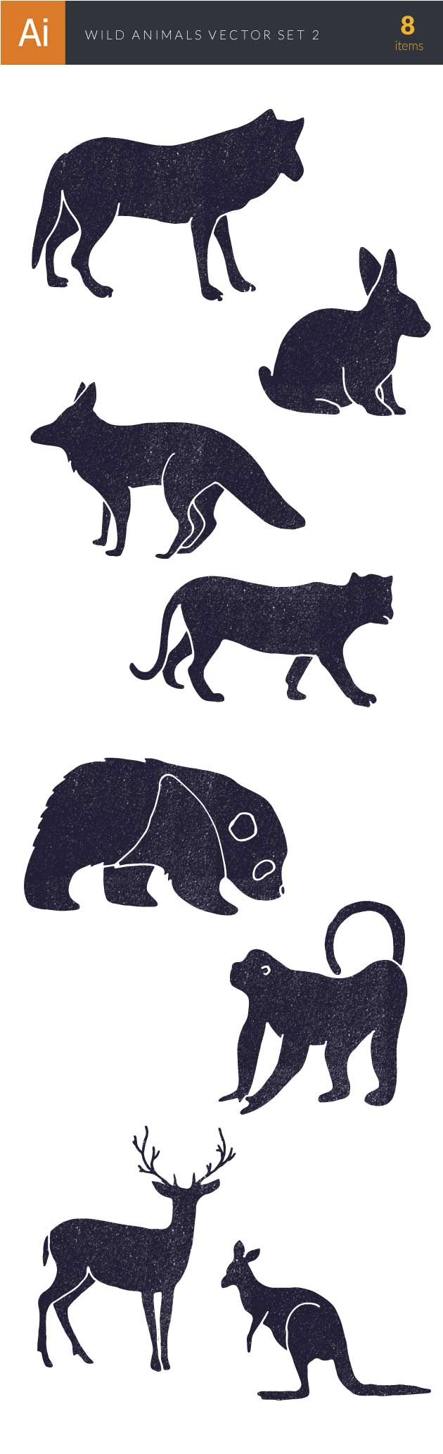 Wild Animals Geometric Vector Set 2 designtnt wild animals geometric vector set 2 vector large