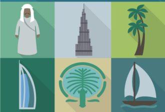 Dubai Vector Vector packs palm tree