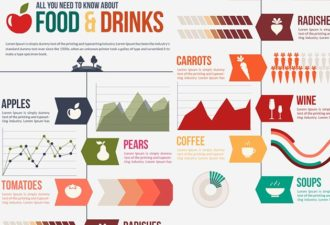 Food and Drinks Infographic Vector Set Infographics vector