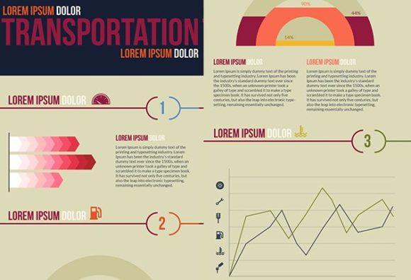 Transportation Vector Infographics transportation small