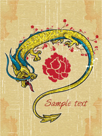 vector vintage background with dragon Vector Illustrations old