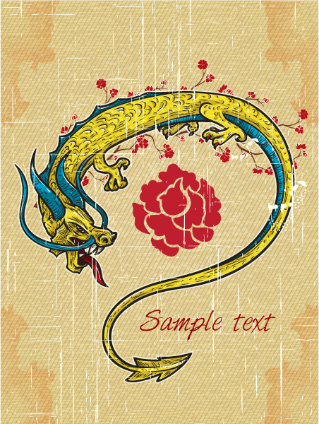 Dragon Vector Graphic Vector Vintage Background  Dragon 5