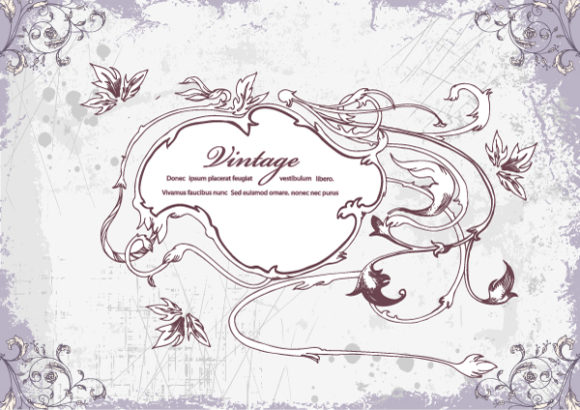 Surprising Frame Vector Graphic: Vector Graphic Vintage Frame With Floral 5