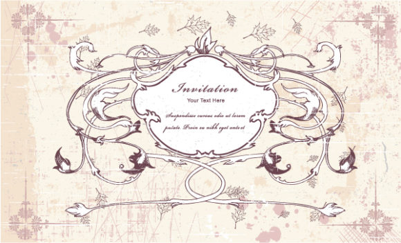 Awesome Floral Vector Art: Vector Art Vintage Frame With Floral 5