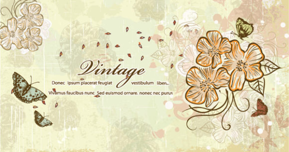 Download Grungy Vector Design: Vector Design Butterflies With Floral 2015 01 01 055
