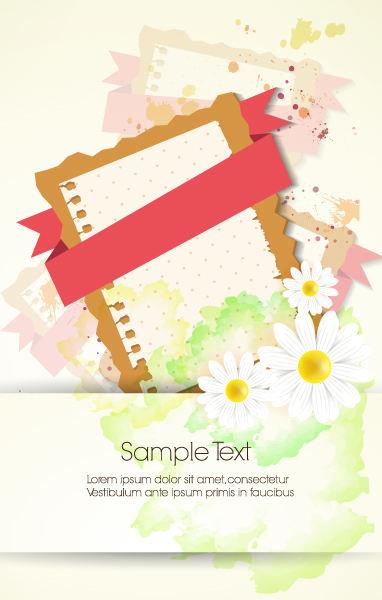vector floral background with ribbon Vector Illustrations floral