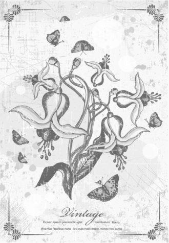 vintage floral vector illustration Vector Illustrations old