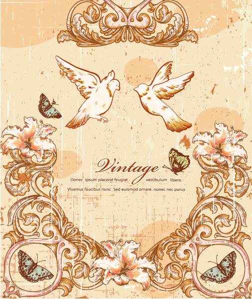 Birds Vector Art: Vintage Birds Vector Art Illustration 5