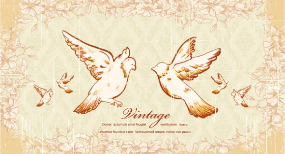 Rust Vector Graphic: Vintage Birds Vector Graphic Illustration 2015 01 01 073