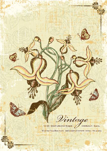 Butterflies, Dirt, Illustration Vector Illustration Butterflies  Floral Vector Illustration 2015 01 01 090