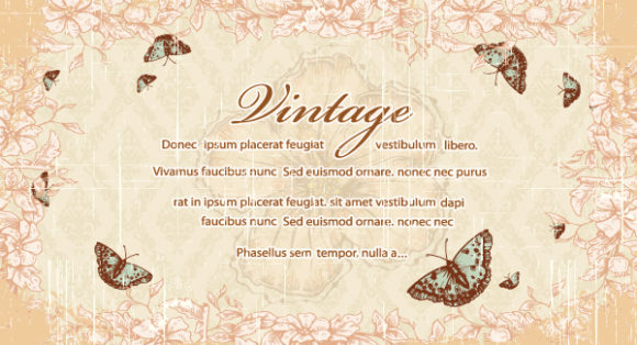butterflies with floral vector illustration Vector Illustrations old
