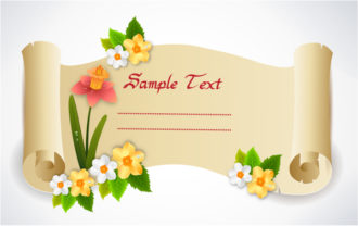 vector spring scroll with floral Vector Illustrations floral
