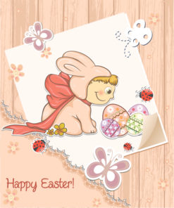 easter background with kid in bunny costume vector illustration Vector Illustrations vector