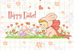 easter background with kid in bunny costume vector illustration Vector Illustrations floral