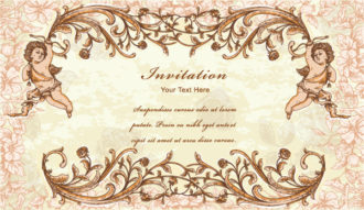 vintage frame with angel vector illustration Vector Illustrations old