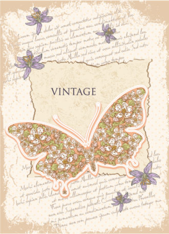 vector vintage background with butterfly Vector Illustrations old