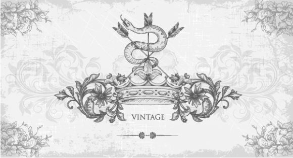 Snake Eps Vector: Eps Vector Vintage Background With Floral 1