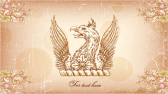 griffin with floral vector illustration Vector Illustrations old