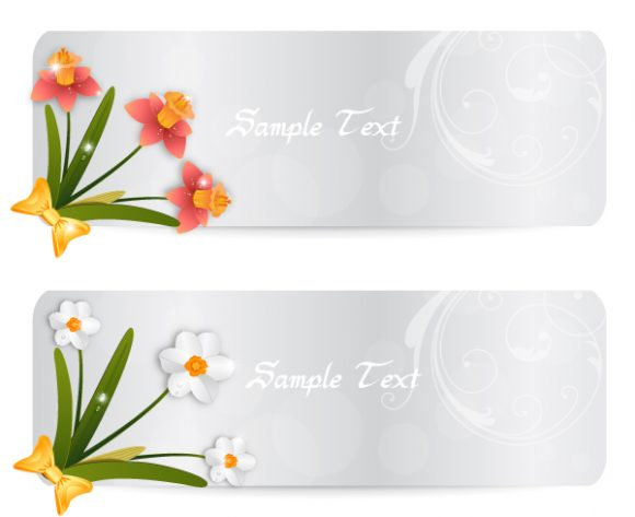 vector spring banners with flowers Vector Illustrations floral
