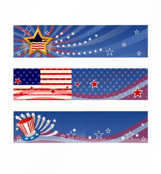 vector 4th of july banners set Scenes old