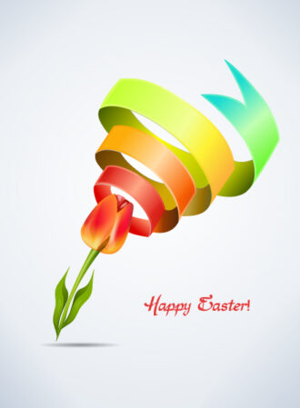 tulip with colorful ribbon vector illustration Vector Illustrations floral