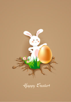 bunny with floral vector illustration Vector Illustrations floral