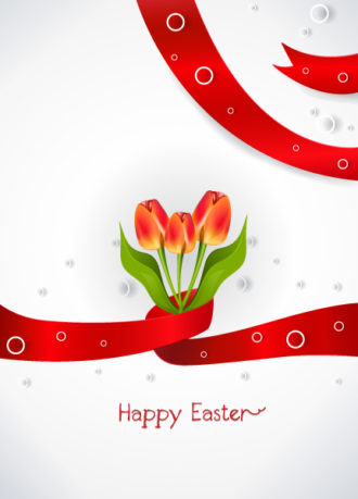 ribbon with tulips vector illustration Vector Illustrations floral