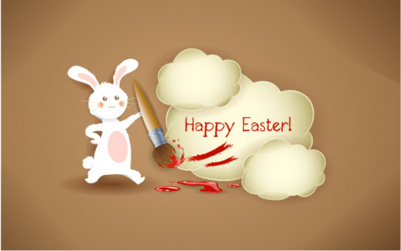 bunny with brush vector illustration Vector Illustrations vector