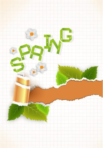 vector spring background with torn cardboard Vector Illustrations floral