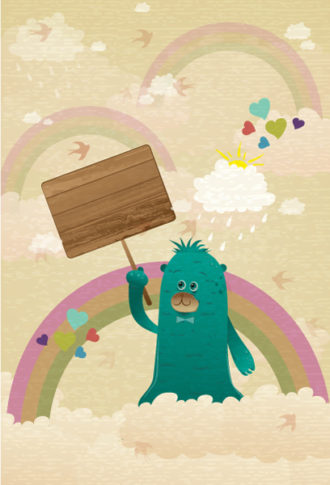 cute monster with wooden sign vector illustration Vector Illustrations old
