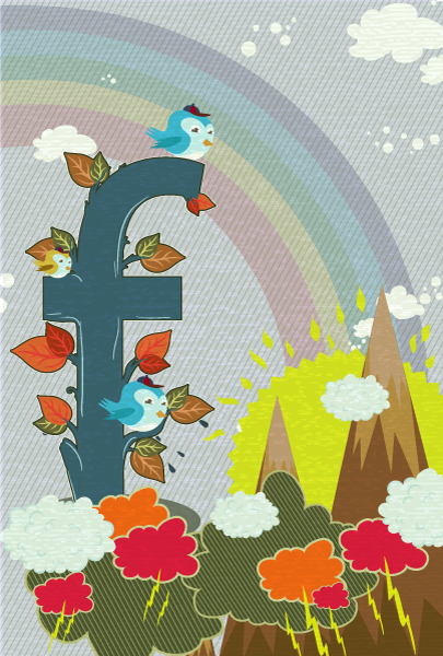 vector abstract illustration with funny birds Vector Illustrations old