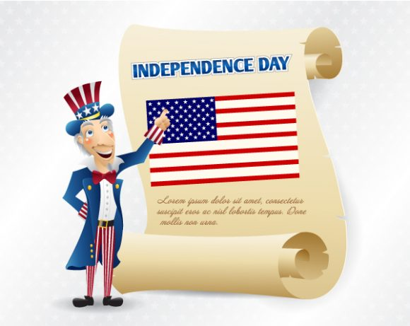 Scroll Vector Background: Vector Background 4th Of July Background With Scroll 5
