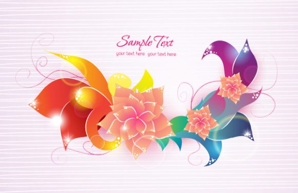 vector colorful abstract floral Vector Illustrations floral