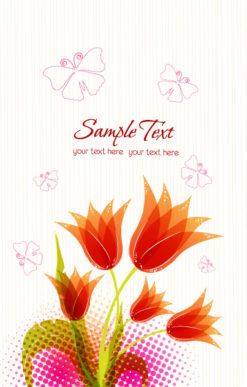 vector spring floral background with butterflies Vector Illustrations floral
