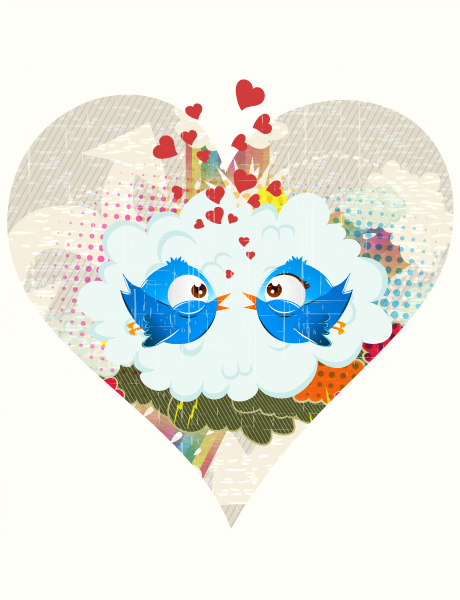 vector abstract illustration with funny birds 2015 01 01 336