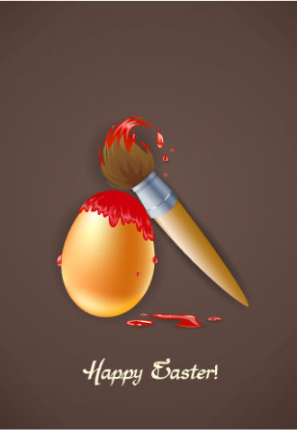 easter background with egg and brush vector illustration Vector Illustrations vector