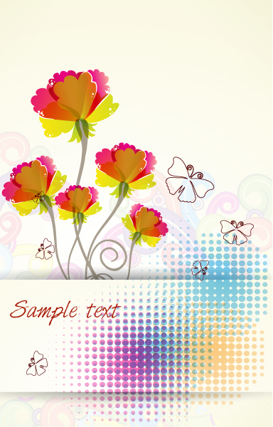 Surprising Halftone Vector Art: Vector Art Colorful Floral Background 5
