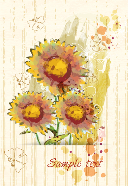 Butterflies Vector Illustration Grunge Floral Background  Butterflies Vector Illustration 2015 01 01 447