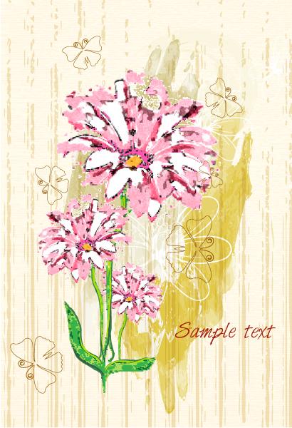 Best Watercolor Vector Background: Grunge Floral Background With Butterflies Vector Background Illustration 5