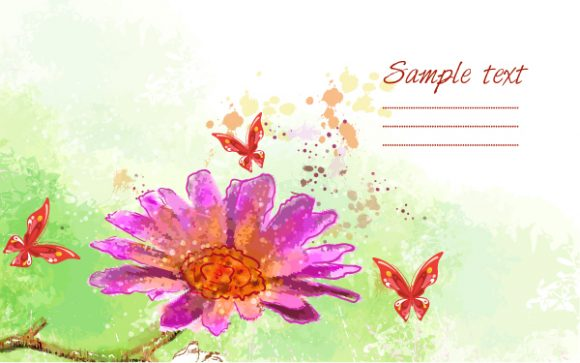 grunge floral background with butterflies vector illustration Vector Illustrations old
