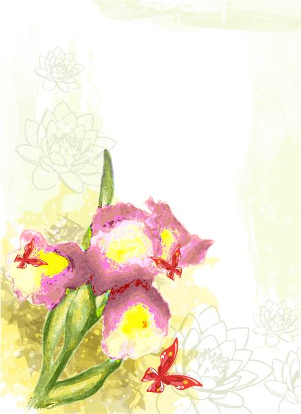 Striking Butterflies Vector Illustration: Grunge Floral Background With Butterflies Vector Illustration Illustration 2015 01 01 464