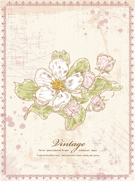 Trendy Illustration Eps Vector: Grunge Floral Background Eps Vector Illustration 5